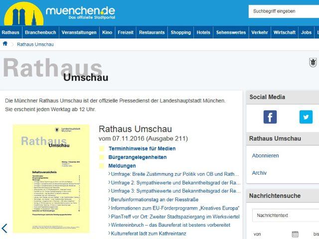 Screenshot der neuen Rathaus Umschau Website.
