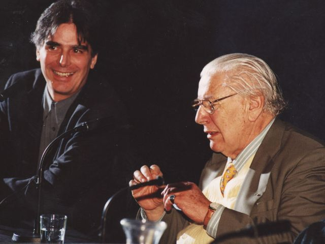 Der Leiter des Filmmuseums Stefan Drößler mit Sir Peter Ustinov., Foto: Filmmuseum München
