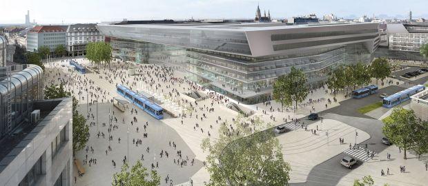 Visualisierung München hauptbahnhof plan für umgestaltung des vorplatzes zur fußgängerzone