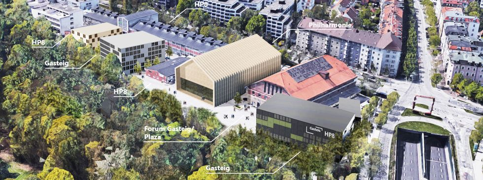 Visualisierung: Zwischennutzung des Gasteig in Sendling, Foto: Clemens Bachmann Architekten
