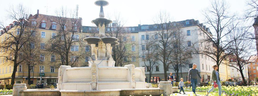 Weißenburger Platz im Frühling, Foto: muenchen.de / Dan Vauelle