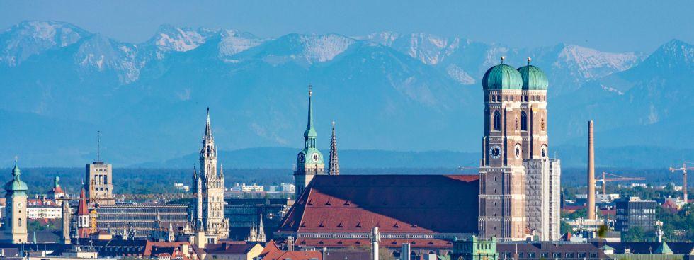 München-Panorama im Mai 2016 - gesehen vom Olympiaberg, Foto: muenchen.de/Michael Hofmann