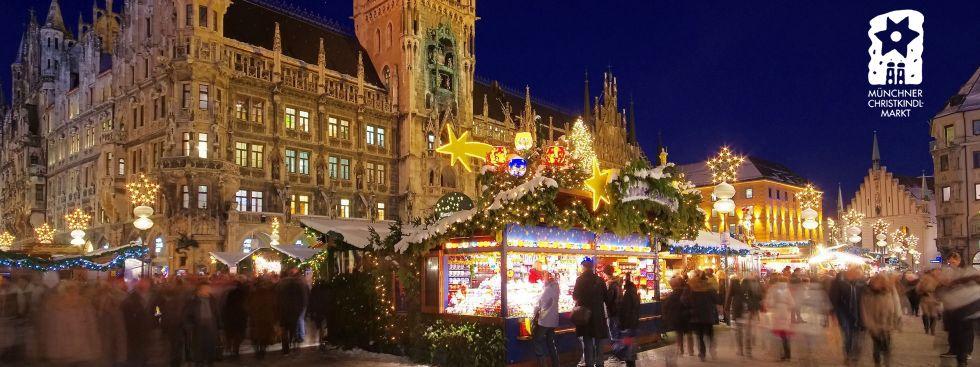 Münchner Christkindlmarkt um den Marienplatz, Foto: LianeM / Shutterstock.com, Logo: Referat für Arbeit und Wirtschaft