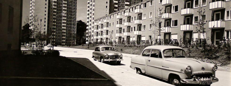 Parkstadt Bogenhausen, Matthä Schmölz, Helmut von Werz und Johann Christoph Ottow, Hans Knapp-Schachleitner, Johannes Ludwig und Franz Ruf (Gesamtplanung), 1954-1956, Foto: Wohnungs- und Siedlungsbau Bayern GmbH & Co. OHG / Kurt Otto, 1958