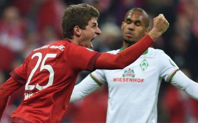 Thomas Müller bejubelt sein Tor gegen Bremen.