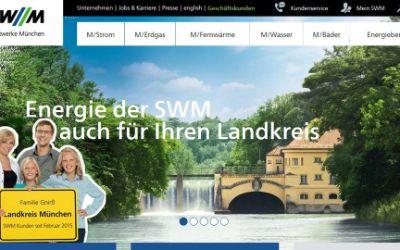 Screenshot der SWM Homepage