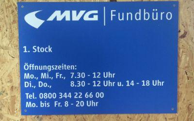 Schild des MVG Fundbüros