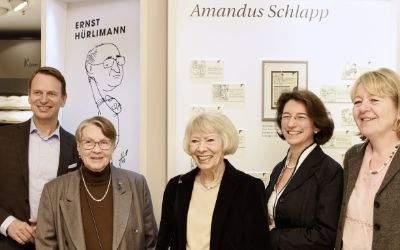 Eröffnung der Ausstellung bei Bettenrid: Robert Waloßek (Bettenrid), Doti Hürlimann, Helga Rid, Michaela Pichlbauer, Karin Lohr (BISS) (v.l.n.r)
