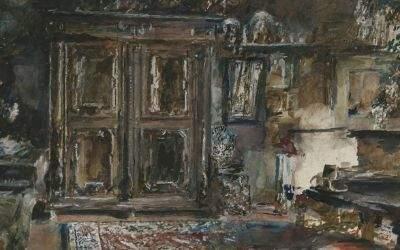 """Aquarell von Rudolf von Alt """"Das Arbeitszimmer des Künstlers"""" aus dem Jahr 1905"""