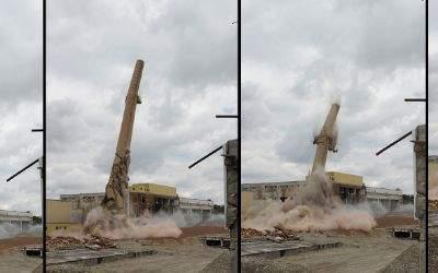 Der Schornstein auf dem Gelände der Paulaner-Brauerei wurde gesprengt.