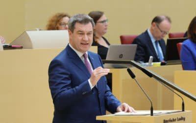 Ministerpräsident Markus Söder bei seiner Regierungserklärung im Landtag
