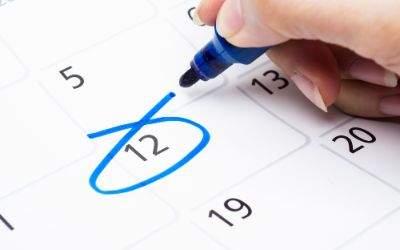 Kalender mit eingeringeltem Datum