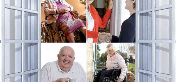 Offenes Fenster, dahinter vier Bilder mit älteren und pflegebedürftigen Menschen
