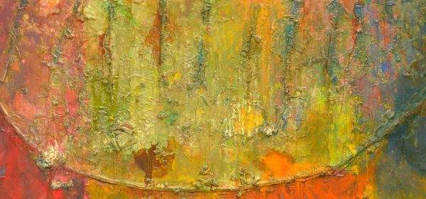 Frank Bowling Philoctetes' Bow 1987 Acrylic on canvas 183 x 360 cm Courtesy the Artist and Hales Gallery